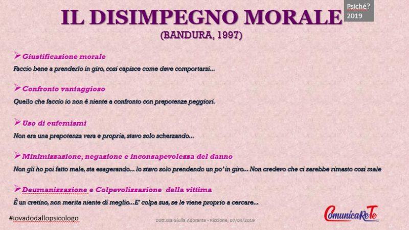 disimpegno morale del bullo - bandura -psicologia